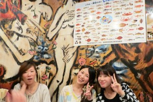 Fusae, Natsumi, Mikiko in front of Venus