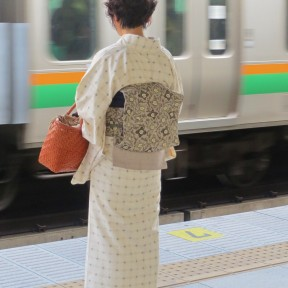 Woman in Kimono, moving train