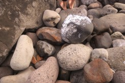Barefeet and rocks