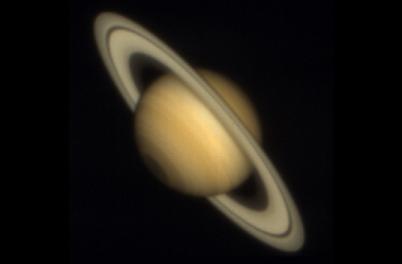 Saturn viewed through a telescope